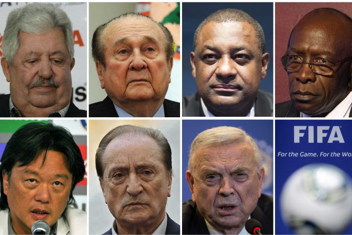 Seven of the men charged over corruption within FIFA (from left to right, from upper row): Rafael Esquivel, Nicolas Leoz, Jeffrey Webb, Jack Warner, Eduardo Li, Eugenio Figueredo and Jose Maria Marin. PHOTO: AFP