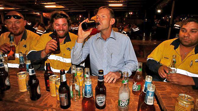 Tony Abbott drinking beer with non-gays