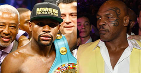 Floyd Mayweather Jr. and Mike Tyson two misogynistic icons that are extremely capable of punching both men and women - wear their very best outfits to MGM grand yesterday