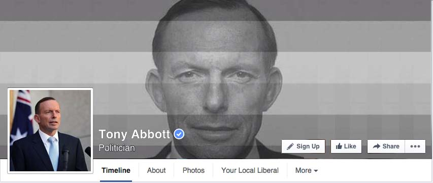 Tony Abbott's facebook page as of this morning
