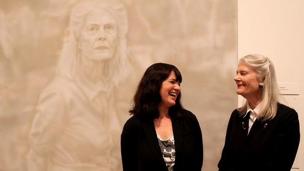 Winner of the 2014 Archibald Prize, Fiona Lowry with her subject, Penelope Seidler. PHOTO: Malcolm Turnbull, Instagram