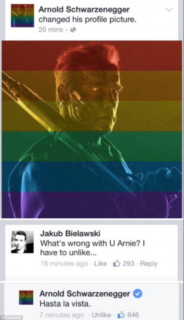 Arnold responds to a homophobe's angry response to his rainbow fllter