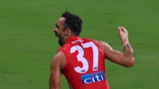 Adam Goodes (while still playing) responds to racist booing by performing an Indigenous war dance