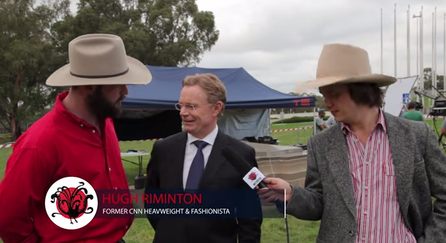 "Hugh ""Rimo"" Riminton chewing the fat with The Betoota Advocate team in Canberra earlier this year"