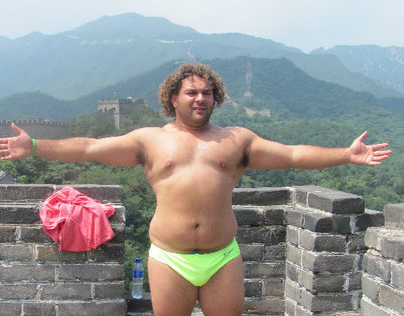 Keegan Collingwood shows off his beautiful figure on an equally beautiful Chinese landmark.