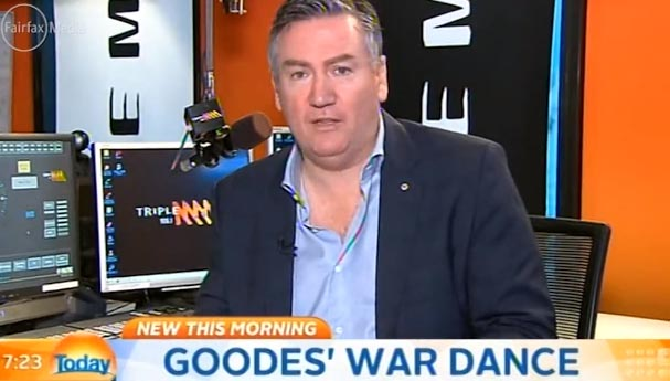 Eddie McGuire's call-to-arms after the first example of imaginary spear throwing