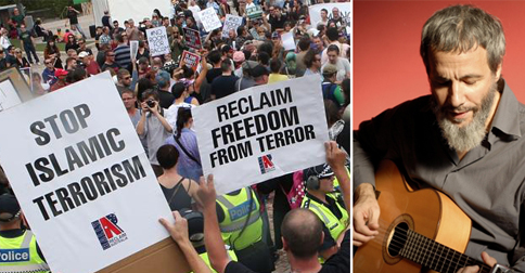 Anti-Islam protestors ridiculed for playing Cat Stevens song during rally
