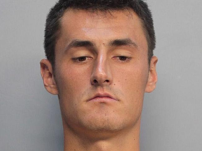 Australian tennis star, Bernard Tomic's mugshot from his processing at Miami supermax