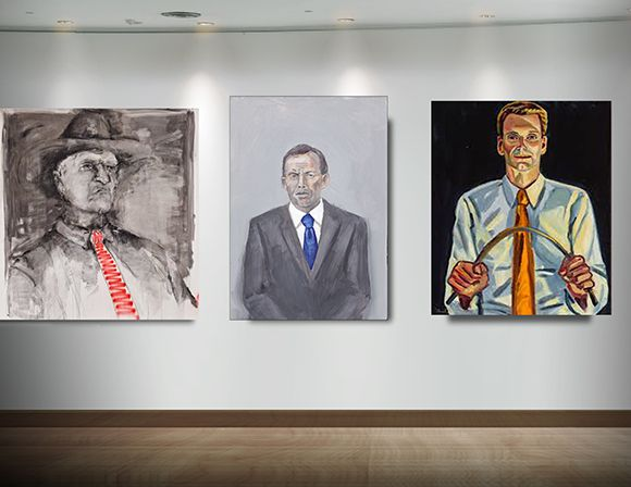The first official portrait of Tony Abbott sits between two similarly conservative politicians, Bob Katter MP and Senator Bernardi