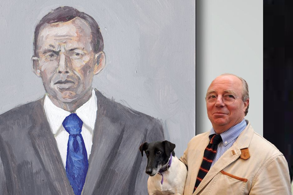 "Multiple Archibald winner, Tim Storrier poses with the portrait of his close friend Tony Abbott. Storrier tells SMH that he is ""certain Frances will take him this year's prize"""