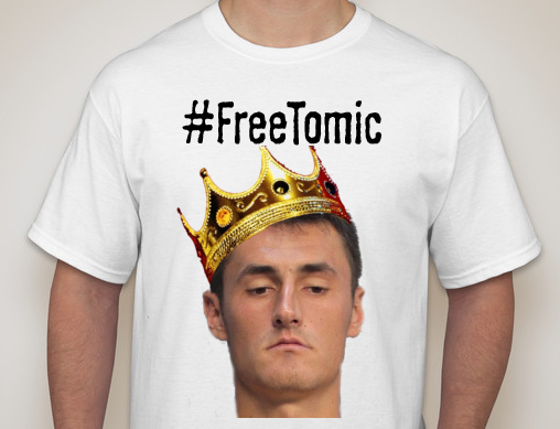 The t-shirt in question. Over twenty thousands prints have already been sold as fans rush to support Tomic.