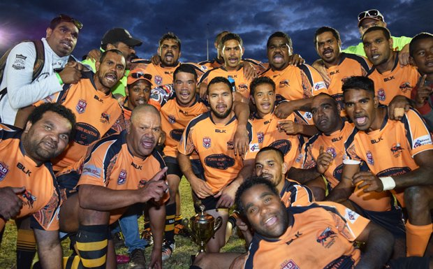 The Cherbourg Hornets, celebrate a euphoric 2014 of the South Burnett Presidents Cup