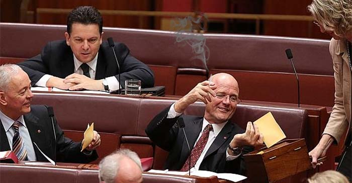 David Leyonhjelm enjoyed a cigarette in the Senate this afternoon