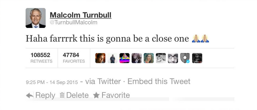 Malcolm X live-tweets the Liberal Party leadership challenge under his previous title, Malcolm Turnbull