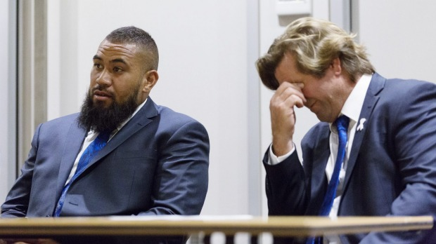 Cleared: Canterbury Bulldogs forward Frank Pritchard and coach Des Hasler at last night's judiciary hearing. Photo: James Brickwood.
