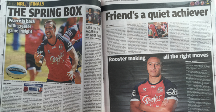 "An entire two pages dedicated to the Sydney Roosters Rugby League team disguised as a RWC spread, by using the headline ""Spring Box"" instead of ""Springboks"" (South Africa's International Rugby Union team)"