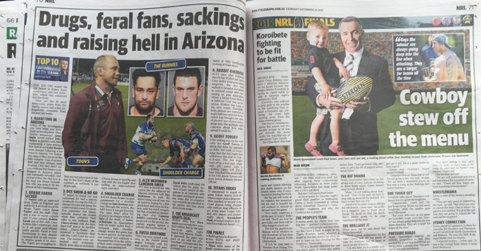 The Telegraph continues to report on rugby league off-field drama over Rugby Union. Even going as far as digging up mugshots of two players from an overseas trip 24 months ago
