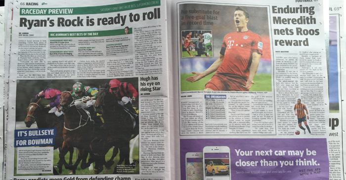 The Telegraph reports on soccer and horse racing.