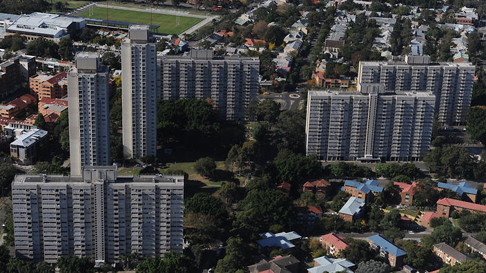 An aerial view of the high density housing towers in the suburb of Redfern/Waterloo, Sydney, Saturday (AAP Image/Dean Lewins)