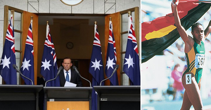 Left: Famously racist former-Prime Minister Tony Abbott (two flags have been cropped from this photo) Right: Olympic Gold Medal-winning Aboriginal athlete, Cathy Freeman pays tribute to her mob with the Aboriginal flag