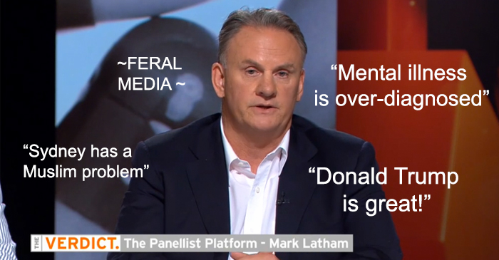"Latham coins the term ""feral media"" while appearing on epitome of feral media"
