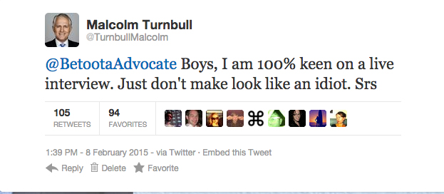 Malcolm Turnbull's initial tweet. Dated the day after our live #LibSpill1 coverage.