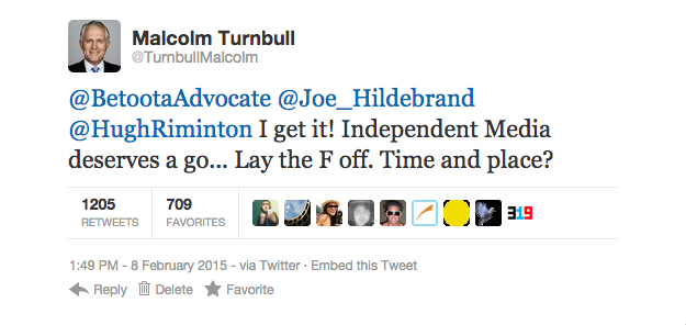 Turnbull's second tweet. In response to encouragement from close friends of The Betoota Advocate, Joe Hildebrand and Hugh Riminton.