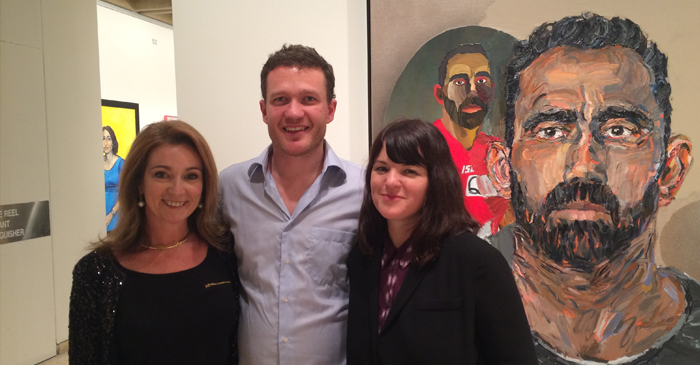 Julie Fison, Archibald 2014 finalist Alan Jones and Archibald 2014 winner Fiona Lowry with Jones' portrait of Adam Goodes - an Australian footballer who is more popular than the entire Australian art scene.