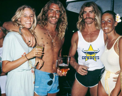 Clyde Barber (left) pictured with Richie Webcke (right) and their respective missuses in happier times