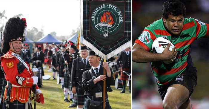 LEFT: the Armidale Bagpipe Band on show at the Aberdeen Highlander games. RIGHT: Former NRL star and Armidale local Dean Widders (seen here playing for SSFC) - a more fitting ambassador for the heritage and culture of New England.