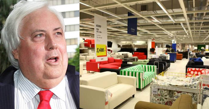 Clive Palmer's aides have lost him inside IKEA