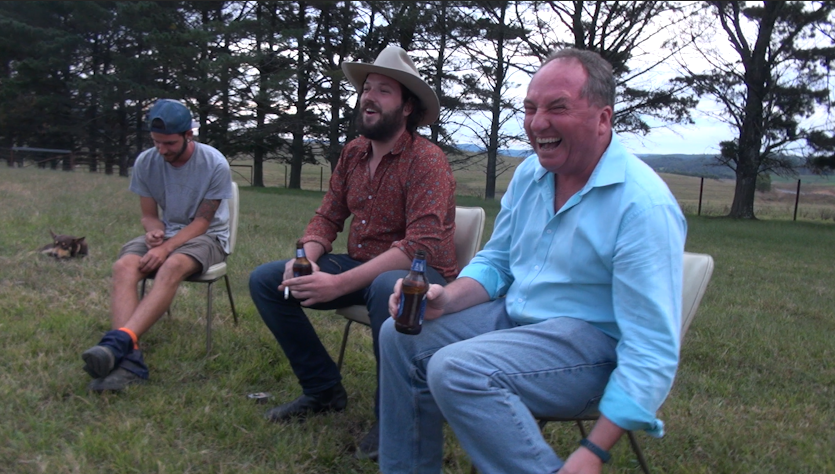 Barnaby Joyce midway through telling a story the last time he visited Birdsville