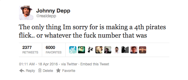 Johnny Depp appears to make no apologies.