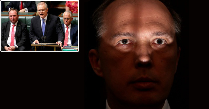 Left: Peter Dutton sits behind Scott Morrison for the reading of the budget. Right: That scary photo of dutton