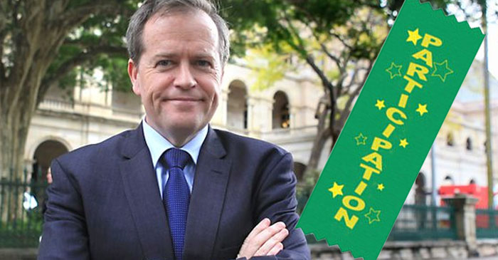 Labor Party confirms Bill Shorten will receive participation ribbon after election