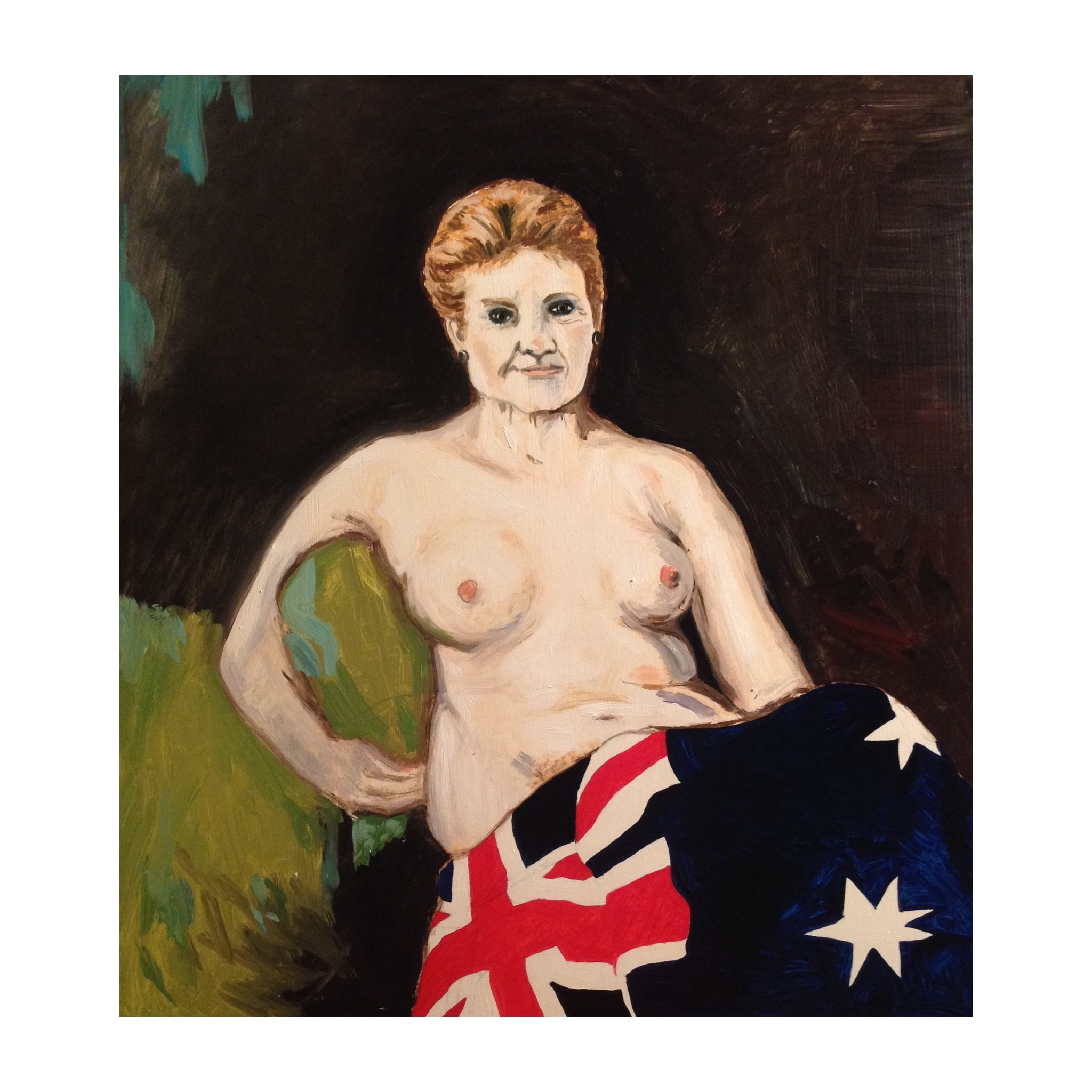 """Her Time Has Come"" 120x80cm oil on linen - Andrew Bolt's Archibald Prize-winning portrait of Pauline Hanson"