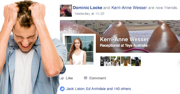 Local Man's Chances With Girl Ruined By 140 Mates Liking Their Facebook Friendship
