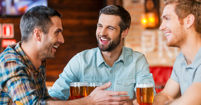 Solid Bloke Smiles And Nods As Mate Blatantly Exaggerates Yarn That He Was There For