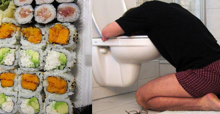 Man gambles with life by eating sushi from local service station