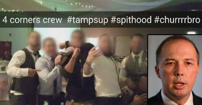 Left: The Don Dale staff pose for a snapchat photo in which they brag about their recent appearance on four corners with the hashtags #Spithood - right the Honourable Peter Dutton