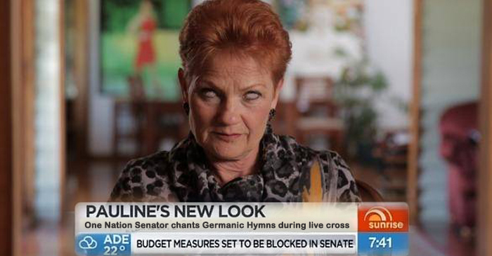 Pauline Hanson Chants Ancient German Hymn As Eyes Roll Back During Sunrise Interview