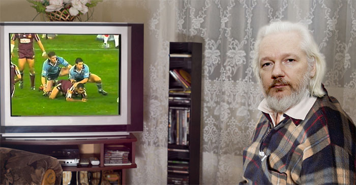 Julian Assange admits he passes time watching State of Origin highlights