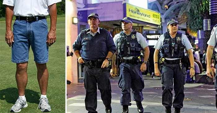 Plain-clothed cop blends into the youth with trendy denim shorts and polo outfit