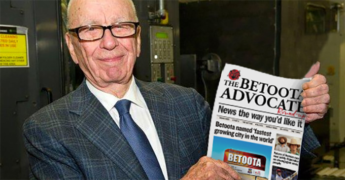 Murdoch to sell Telegraph, buy share of Betoota as world shuns 'fake' news