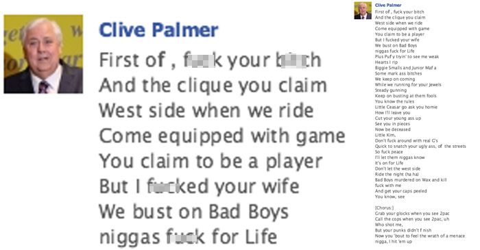 Clive Palmer Posts Entire Lyrics To 2pac's 'Hit 'Em Up' In Friday Arvo Facebook Status