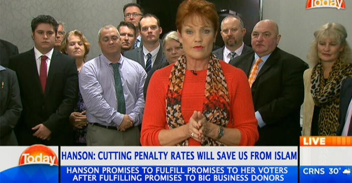 Hanson Assures Voters That Slashing Penalty Rates Is First Step Towards Muslim Ban