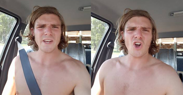 Bloke Ranting In Facebook Video Is Driving A Car With No Shirt On For Some Reason