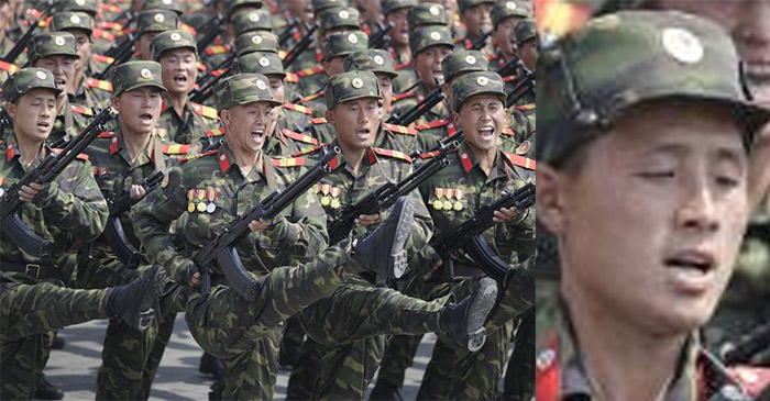 Local North Korean infantryman reveals it's 'super tiring' to march like this