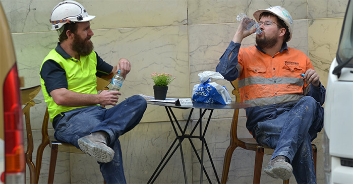 Tradie asks other tradie if he's got much work on at the moment
