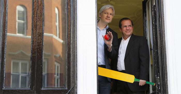 Julian Assange takes to window to ask if anybody wants to play indoor cricket